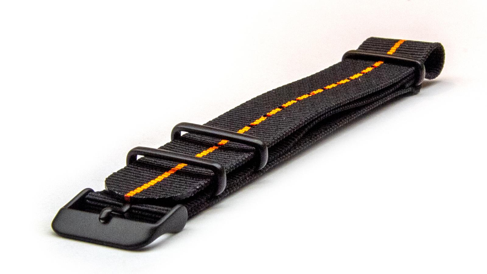 Charcoal Black & Orange NATO strap with black PVD buckles