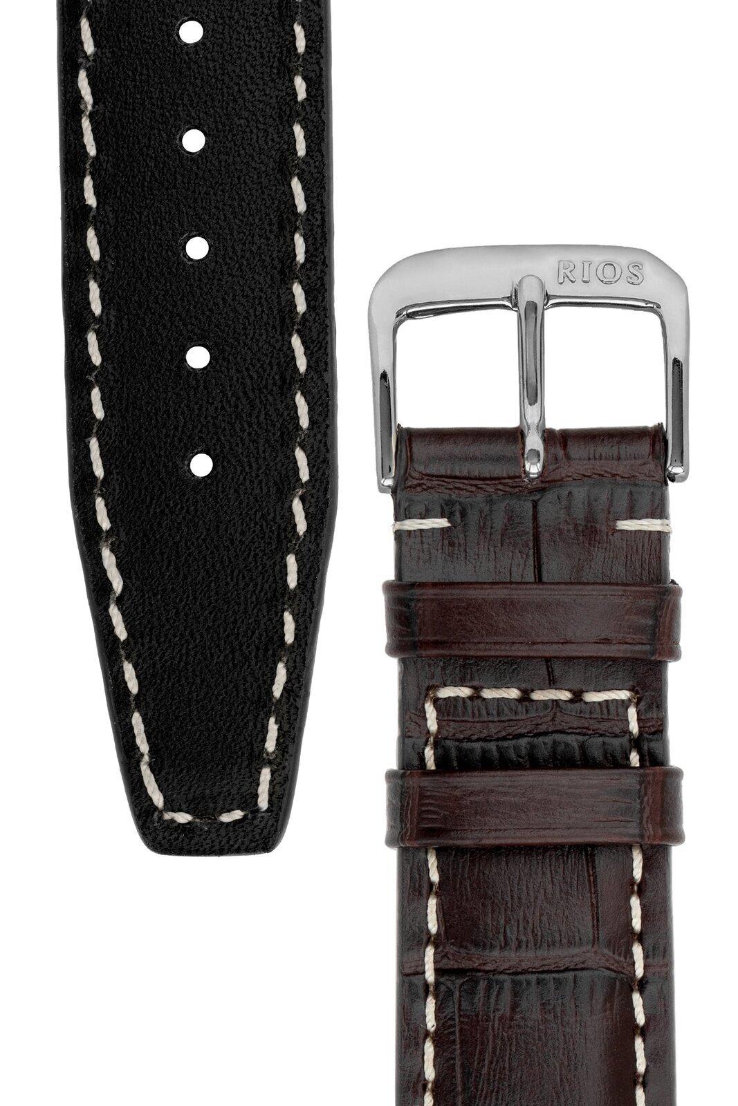Rios1931 BOSTON Alligator-Embossed Leather Watch Strap in MOCHA