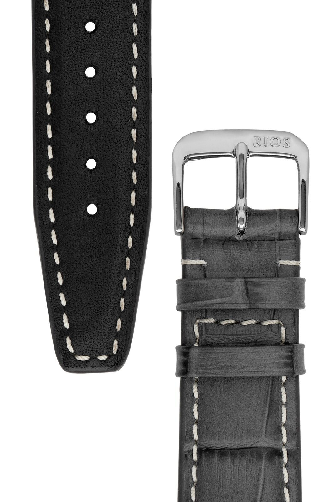 Rios1931 BOSTON Alligator-Embossed Leather Watch Strap in STONE GREY