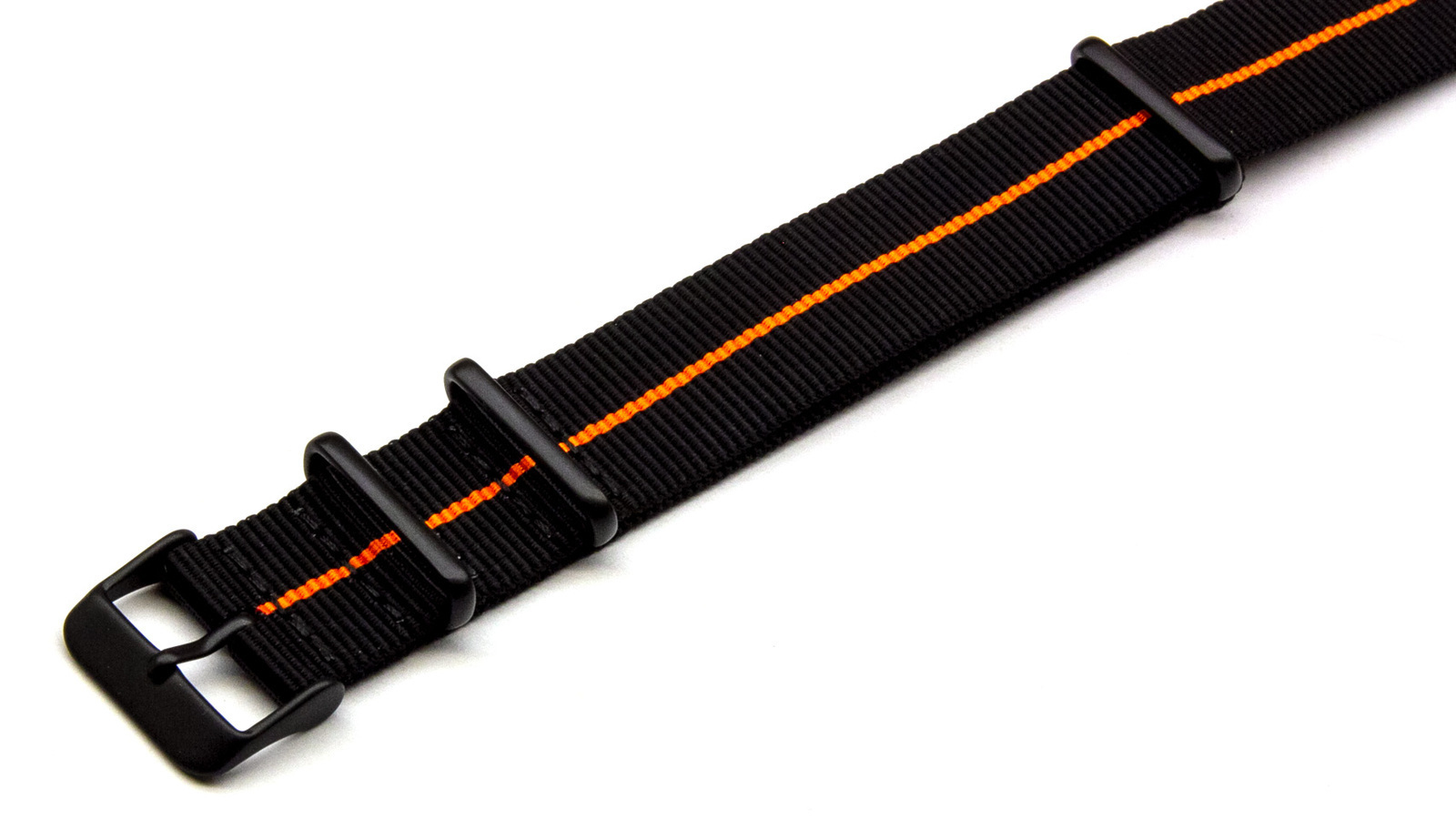 Charcoal Black & Orange watch strap with black PVD buckles