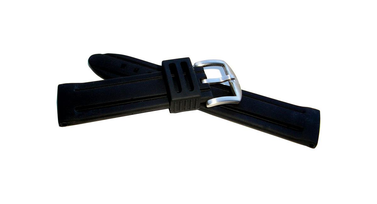 20mm silicone rubber watch strap - black