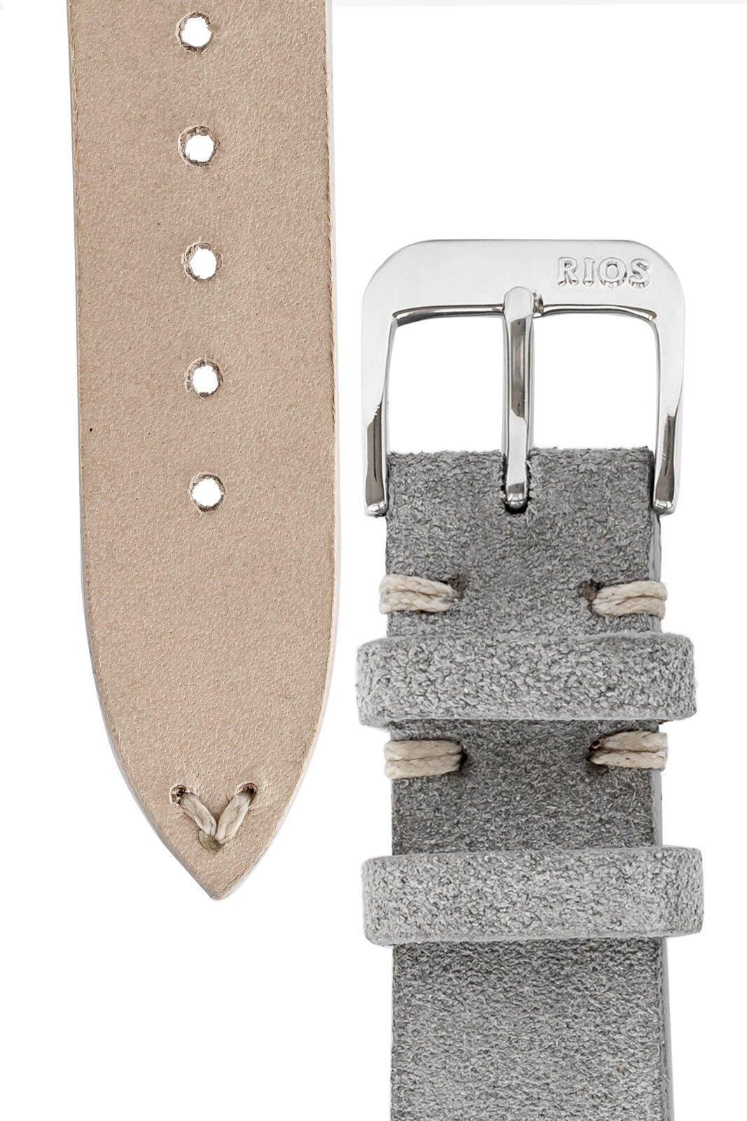 Rios1931 HUDSON Genuine Suede Leather Watch Strap in STONE GREY