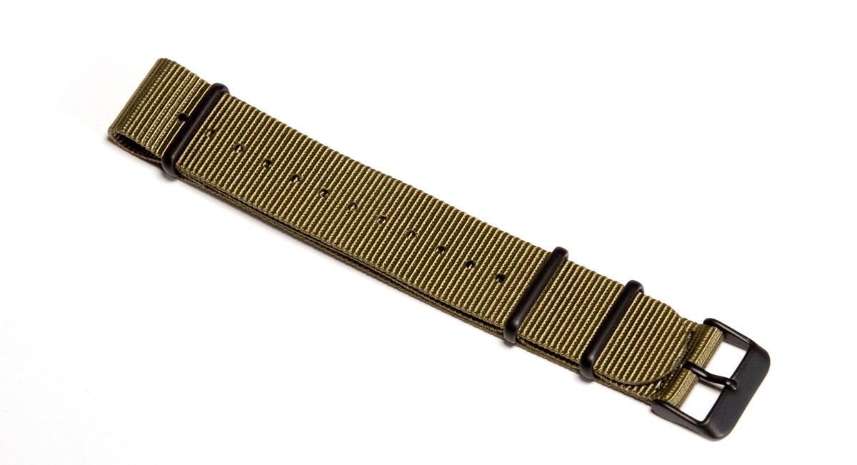 20mm Khaki Green NATO strap - with black PVD buckles