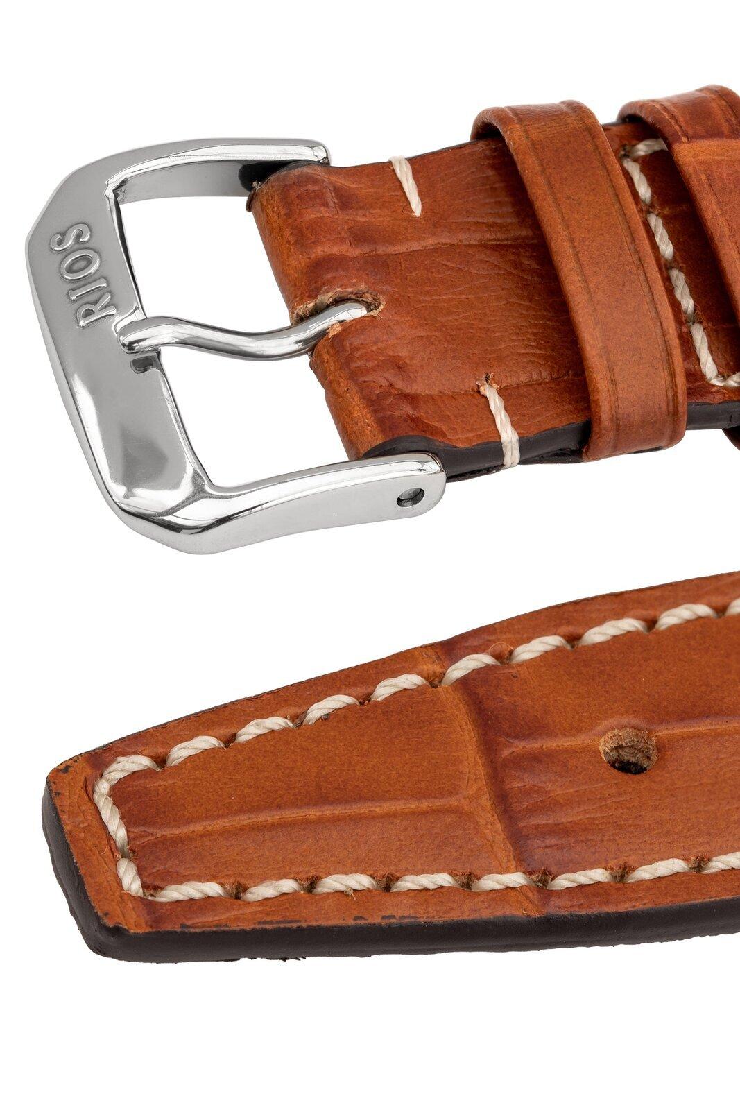 Rios1931 BOSTON Alligator-Embossed Leather Watch Strap in COGNAC