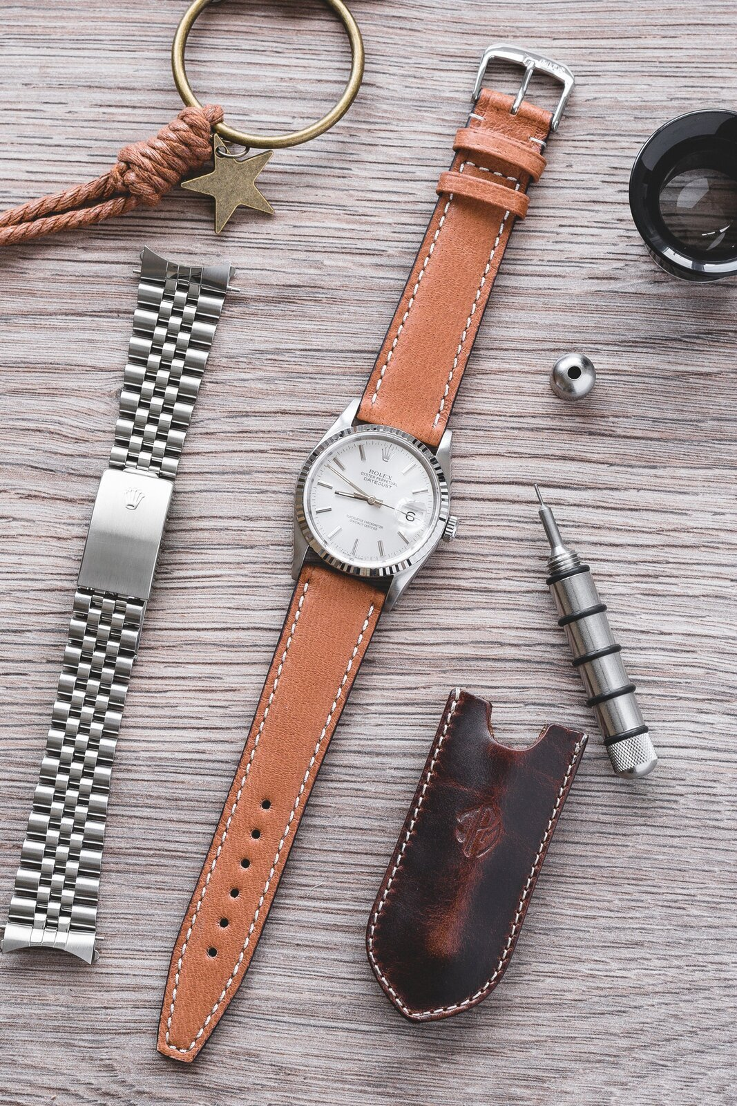 Rios1931 HAVANA Genuine Pigskin Leather Watch Strap in COGNAC