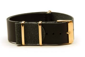 18mm Black Leather watch strap with rose gold buckles