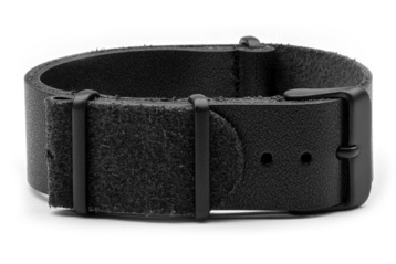22mm Black Leather NATO strap with black PVD buckles
