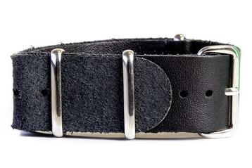 22mm Black Leather NATO Strap