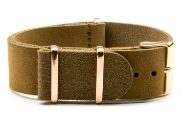 Matte Brown Leather watch strap with rose gold buckles