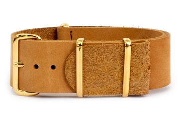 Tan leather NATO strap with rose gold buckles