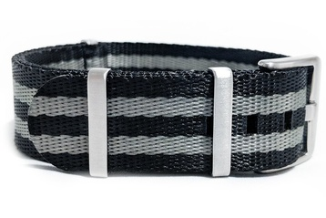 22mm Black and Silver Seatbelt NATO watch band