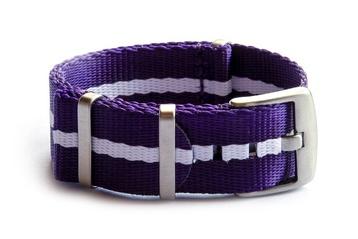 Purple & White Seatbelt NATO watch strap
