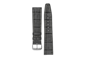 22mm Rios1931 BOSTON Alligator-Embossed Leather Watch Strap in STONE GREY