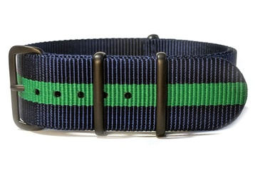 24mm Navy Blue & Green NATO strap with black PVD buckles