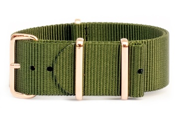 18mm Khaki green watch strap (with rose gold buckles)