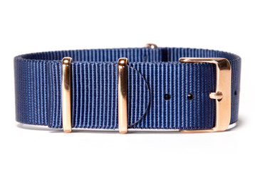 Navy blue NATO strap (with rose gold buckles)