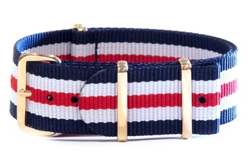 Navy, White & Red watch strap (with rose gold buckles)