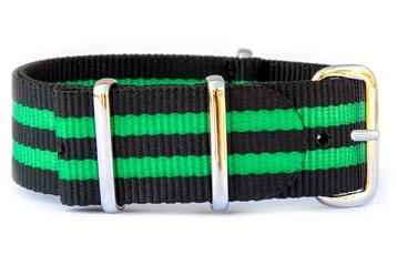 24mm Black & Bright Green NATO strap