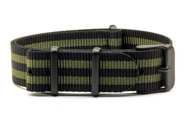 Black & Green NATO strap with black PVD buckles