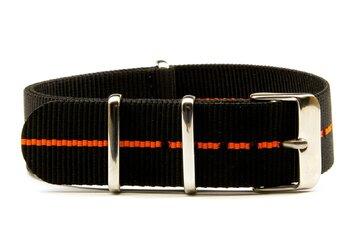 22mm Charcoal Black and Orange NATO