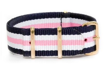 Blue, White and Pink watch strap (with rose gold buckles)