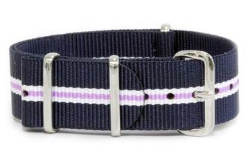 16mm Blue, white and purple NATO strap