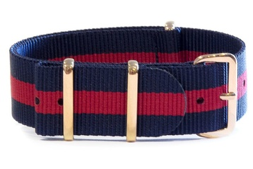 Blue and red NATO strap with rose gold buckles