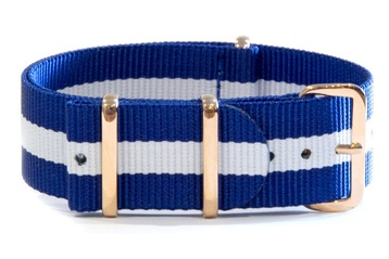 20mm Blue and white NATO strap with rose gold buckles