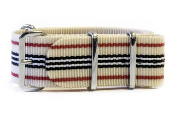 Beige watch strap Red, Black & White stripes