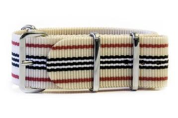 Beige NATO strap with Red, Black & White stripes