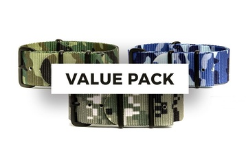 3 Pack - Camo/Military Watch Straps - 24mm
